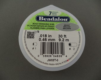 Beadalon 7 Strand Bead Stringing Wire .018 inch x 30 Feet