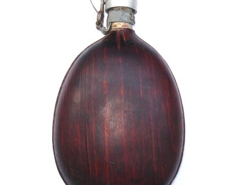 Antique Aluminum Canteen Water Bottle/ USSR Cold War/ Collectible canteen with wood veneer case/1960s