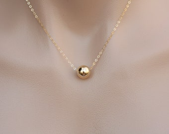 Silver/Gold/Rose gold ball Necklace,Large ball necklace,smooth,corrugated,Simplistic Everyday Jewelry,Bridesmaid gift,Wedding jewelry