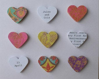 Handmade Personalised First Anniversary card - Jewel colours - 1st anniversary