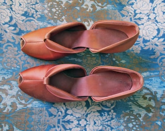 Vintage Satin Slippers, 40s Satin Pumps, Boudoir Slippers, Peep Toe Slippers, Movie Star Pumps, Hollywood Regency Lounge Shoes