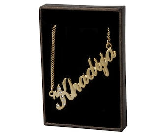 Name Necklace Khadija - Gold Plated 18ct Personalised Necklace with Swarovski Crystals