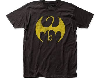 Iron Fist Distressed Logo Men's Soft Fitted 30/1 Cotton Tee (FIST05) Black