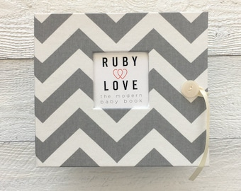 BABY BOOK | Gray Chevron Stripe Album