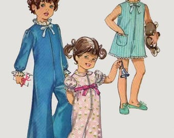 Vintage 1960s Childs Christmas Pajamas or Playsuit in Two Lengths Sewing Pattern Simplicity 7965 Childs 50s Sewing Pattern Size 3 Breast 22