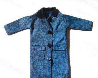 """Vintage 1960s IDEAL Toys Fashion Doll TAMMY Misty 1963 Outfit Blue Abstract Print Rain Coat Jacket """"Puddle Jumper"""" #9111-6 EUC Japan"""