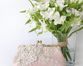 Bridal Clutch with Pearl Sakura Flower Vine Lace in Blush Pink and Rose Gold