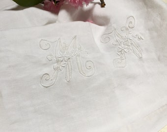French Antique Pure Linen, Soft, Floppy, Fabulous, 'MN'  Monogrammed Craft Fabric