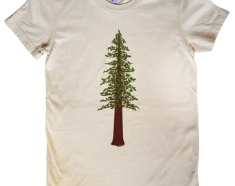 Redwood Forest Tree T Shirt for Men and Women on American Apparel with Wild Animals 100% Cream Cotton Sizes (S M L XL XXL)