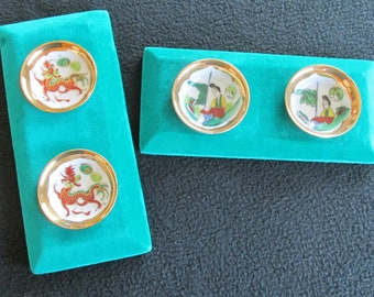 Set of 2 Vintage Oriental Wall Art Pictures Mounted Porcelain Dishes Chinese Motif