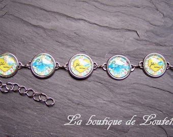 Picture pretty kid green and blue heart glass cabochon bracelet