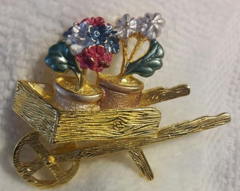 Flower Cart Brooch in Gold Tone and Enamel