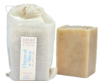 Oatmeal and Shea Butter Soap - unscented - All Natural Handmade Soap - Vegan and Cruelty Free - with Jojoba oil