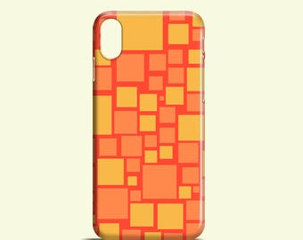 Orange squares phone case / abstract iPhone X case, iPhone 8, 8 Plus, iPhone 7, 7 Plus, iPhone 6S, 6, iPhone 5/5S, SE, Samsung Galaxy S7, S6