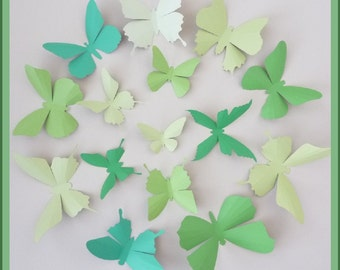 3D Wall Butterflies - 15 Green Tea, Clover Green, Honeydew Green Butterfly Silhouettes, Home Decor