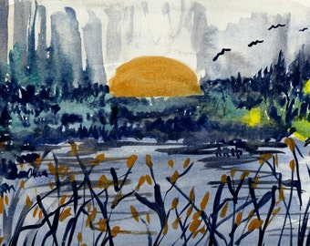 Untitled Sunset Water color original painting