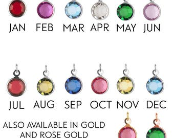 Add-on Medium silver Birthstone charm, to add onto existing orders only!, bridesmaid gift, mothers day gift