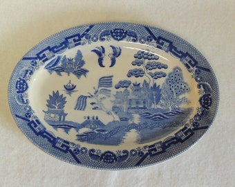 "Vintage Blue Willow Restaurant Ware 12"" Oval Platter"