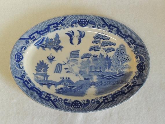 "Vintage Blue Willow Restaurant Ware 12"" Oval Platter"
