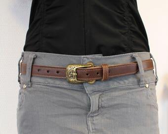 Ceinture marron femme ; ceinture fine femme ; ceinture marron cuir ; Ceinture en cuir ; ceinture cuir  ET.141