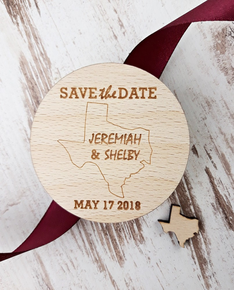 Texas Save The Date Magnet, Burgundy, Marsala Save The Date, Wooden ...