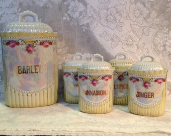 German porcelain canister set spice jars opal lusterware rose floral kitchen storage containers Victorian farmhouse romantic cottage chic