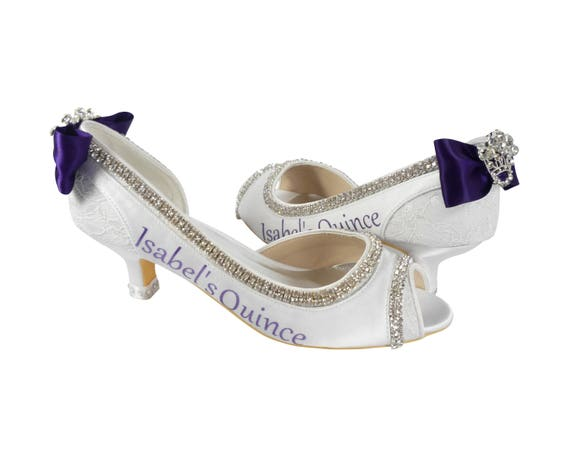 Low Toe or Personalized Peep Quince Wedding Heel Shoes High Heel Pumps Princess or High Quinceanera xSqvPx