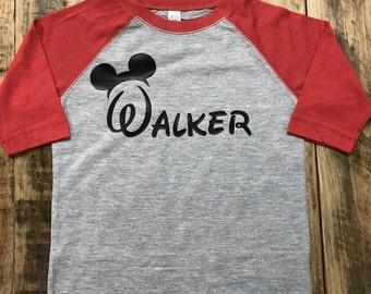 Personalized Disney Baseball Style Shirt, Personalized Toddler Disney Shirt
