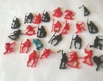 Vintage lot of 26 medieval knight miniature figures.