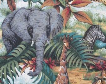 "34 1/2"" x 44"" wide 100% Cotton Print Springs Jungle Animals Elephants Lions Leopards Giraffes Zebras Birds (Last Piece)"