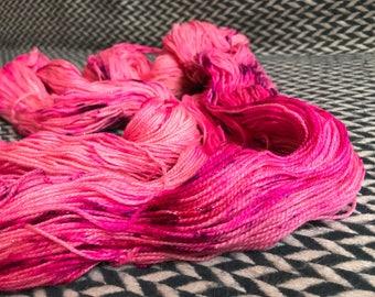 Hand-dyed yarn, Indie dyed yarn, hand dyed yarn I'M a BARBIE GIRL -- dyed to order -- Broadway sparkle sock merino/ nylon/ stellina yarn