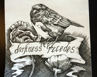 """Original 6"""" x 6"""" pen and ink crosshatch drawing: 'Darkness Recedes' (poppies, spotted towhee, bird, flowers, ribbon)"""