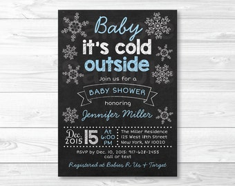 Snowflake Chalkboard Baby Shower Invitation / Baby It's Cold Outside Invitation / Snowflake Invitation / PRINTABLE A321