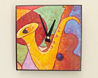 Jazz Clock, Musical, Functional Art, Colorful Clock, Funky, Wall Clock, Home Decor, Saxophone, Chello, Music