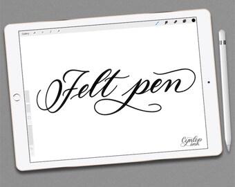 Custom Procreate Brush, Felt Pen brush Calligraphy