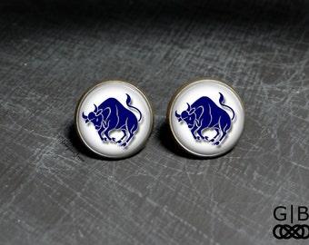 Taurus Studs Zodiac Taurus Earrings Birthday in May Studs April Birthday Studs Taurus Earrings Zodiac Stud Earrings Taurus Jewelry Studs