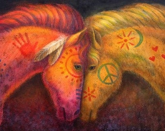 Horse Art War & Peace Horses Southwest painted pony artwork poster print of painting by Sue Halstenberg