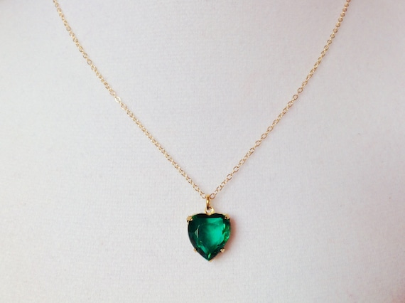Emerald necklace emerald heart necklace beautiful jewelry aloadofball Images