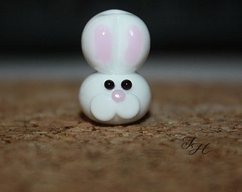 Handmade glass lampwork bunny rabbit focal bead By TH
