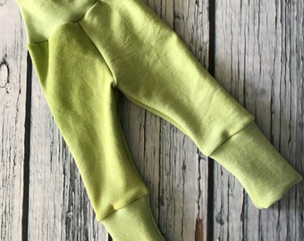 Wool Interlock Longies - Large - Green - Cuffed - Hand Dyed
