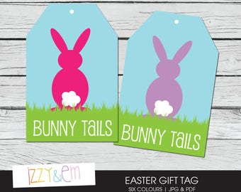 Items similar to printable gift tag easter bunny in pink red green printable easter tag bunny tails easter gift tag printable gift tag kids easter negle Gallery