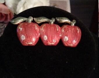 Weekend 10% Off Vintage Enamel Three Red Apples Brooch Signed TC