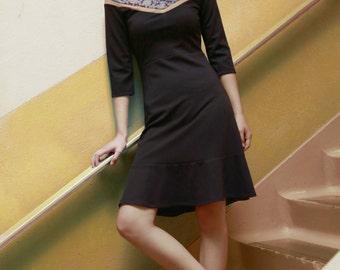 Women dress - Jersey dress  - 3/4 sleeves dress  - Knee dress - Knit - Patterns - Binding - Lucie Horses -20%
