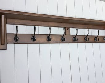 8 Hook handmade rustic hat and coat rack with shelf