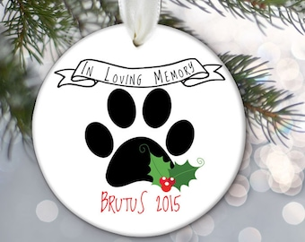 Family Pet Memorial Ornament, In memory of, Dog Ornament, Cat Ornament, Personalized Pet Memorial Christmas Ornament OR434