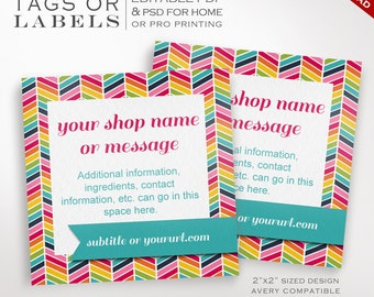 Editable Chevron Product Tags Labels - Printable Rainbow Label Templates - rbc Labels Hang Tags Earring Cards Jewelry Jewellry