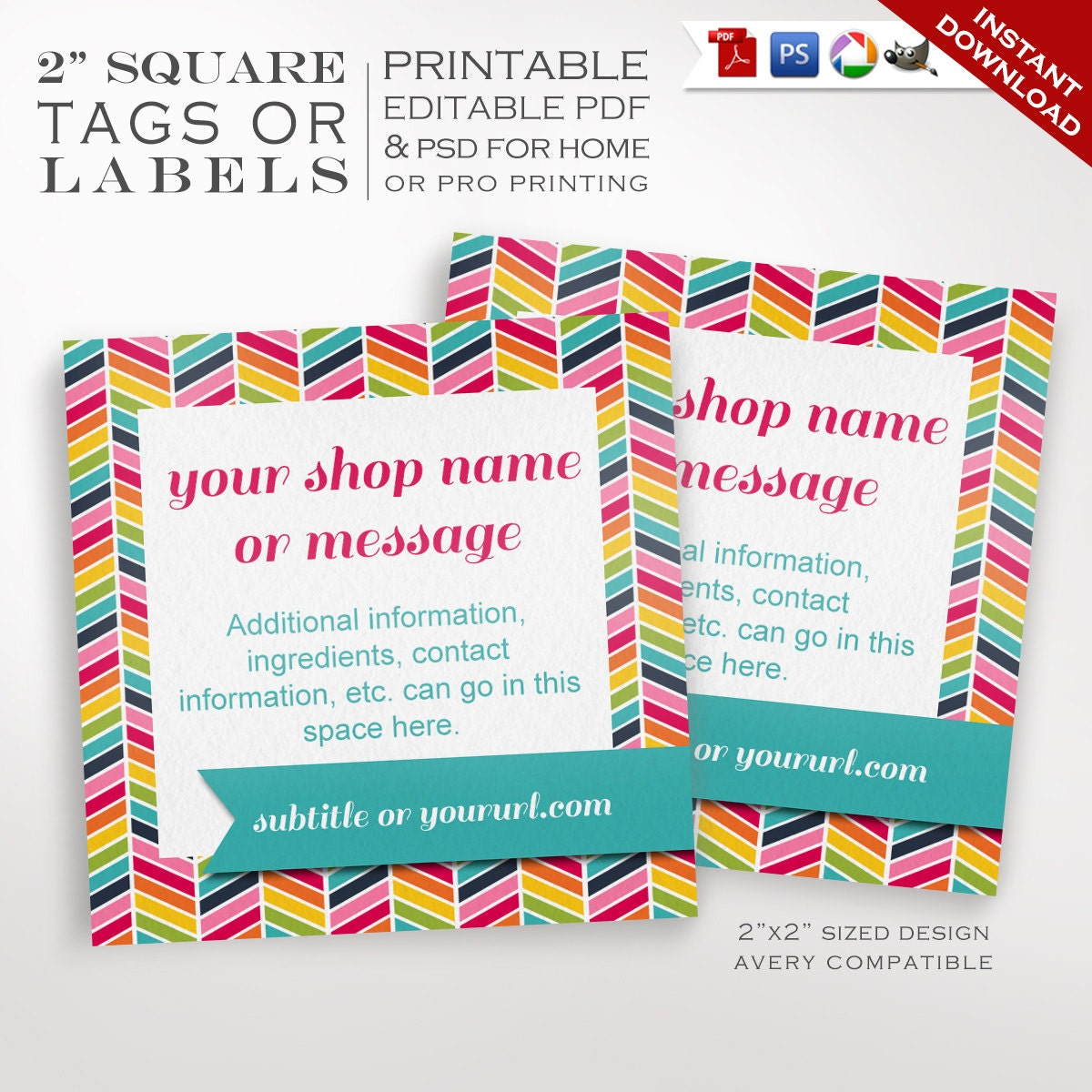 editable chevron product tags labels printable rainbow label