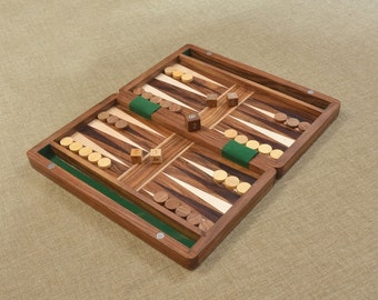 "Backgammon Set in Sheesham and Box wood with Board,Dice & Stones - 12"" SKU: BG203"