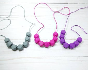 Multi bead teething necklace - chewellery - teething beads - teething necklace - silicone necklace - silicone teether - baby shower gift