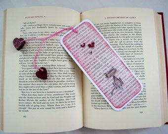 bookmark, handmade bookmark, cute bookmark, cat bookmark, hello love bookmark, silver embossed bookmark, hearts bookmark, cute cat bookmark